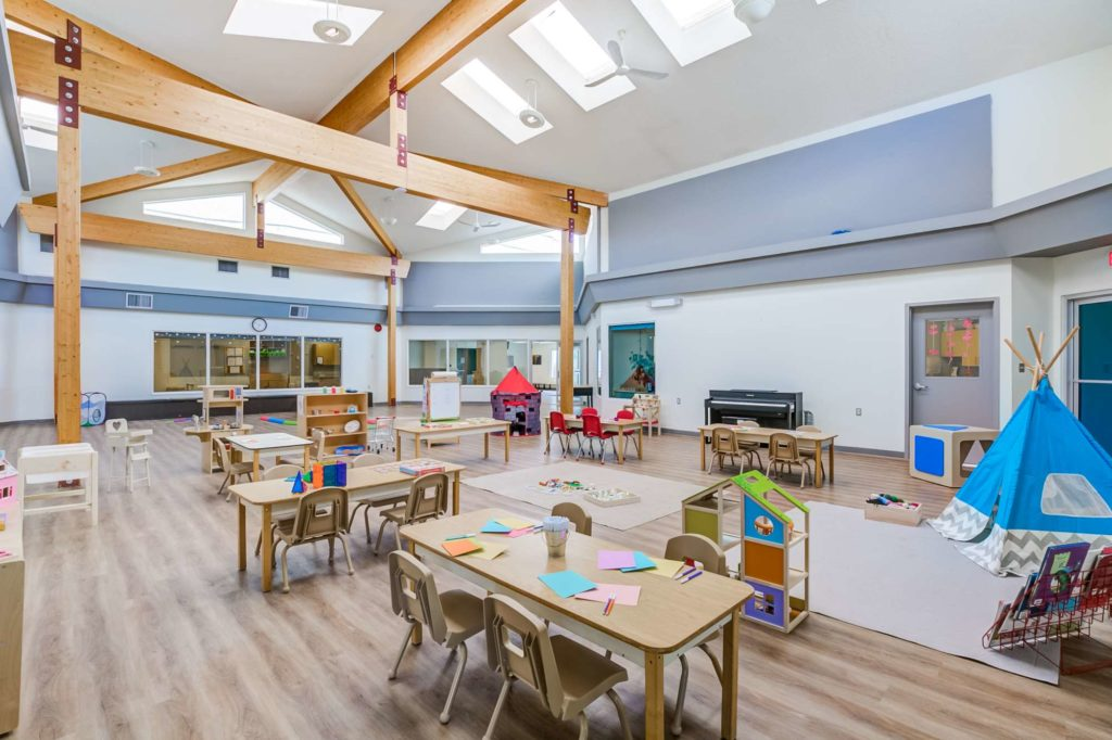Lewis Farms central room with various activities for children available